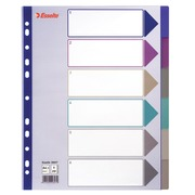 Divider A4+ translucent coloured plastic 6 multi-coloured neutral divisions - 1 set