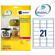 Box of 420 super strong labels Avery L 7060 63,5 x 38,1 mm white for laser printer
