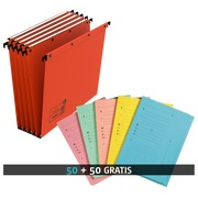 Pack 50 hanging folders for drawers 33 cm kraft Ultimate Elba bottom 15 mm orange + 50 index sleeves free