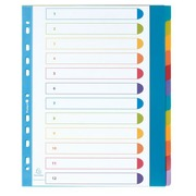 Rewritable A4+ dividers in coloured opaque polypropylene Exacompta - 12 divisions