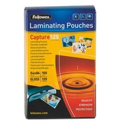 Box of 100 Fellowes laminating pouches 54 x 86 mm - 2 x 125 µ