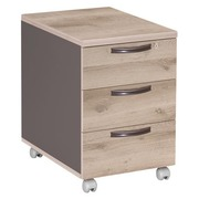 Mobile drawer cabinet Osaka 3 drawers grey oak