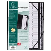 Multipart file Ordonator with elastic strapes 26 alphabetical tabs from A to Z - A4 - Black