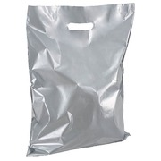 Shopping bags with flat handles silver H 45 x W 37 cm pack of 100