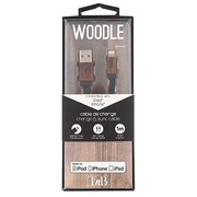 Wooden braided flat USB Cable - 1m lightning