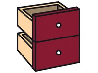 Set 2 drawers bordeaux red for worktable Biblioffice