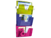Wall-mounted, multicoloured rack 3 compartments