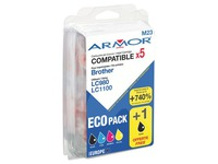 Pack van 5 cartridges Armor compatibel met Brother LC980-1100 zwart + kleur