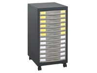 Mobile side cabinet Office 12 drawers anthracite - basalt