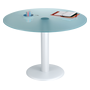 Round table Krystal table plate in sea green tempered glass