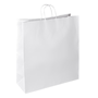 Box with 50 shopping bags in natural white kraft and handles in entangled thread 44 x 35 x 14 cm